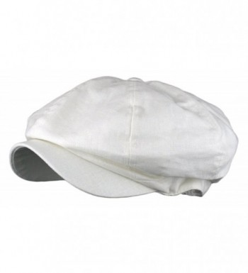 Men's Linen 8 Panel Applejack Gatsby Newsboy Ivy Hat - White - CM121X4USFP