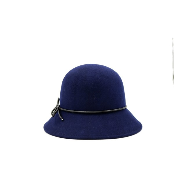 AccessHeadwear Alpas Ladie's Hannah 100% Wool Felt Cloche Hat - Navy - CZ187IE49Y6