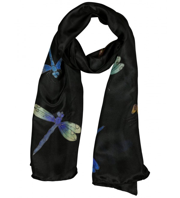 Invisible World Women's 100% Silk Hand Painted Rectangular Scarf Dragonfly - Black - CI11L7QS0BJ