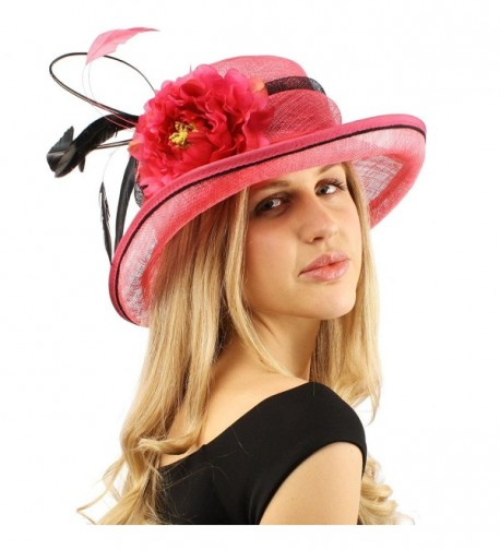 Victorian Sinamay Quill Feather Floral Cloche Bucket Cloche Church Hat - Fuchsia - C312COZFIJ3