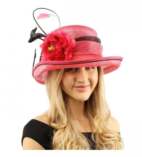Victorian Sinamay Feather Hat Fuchsia