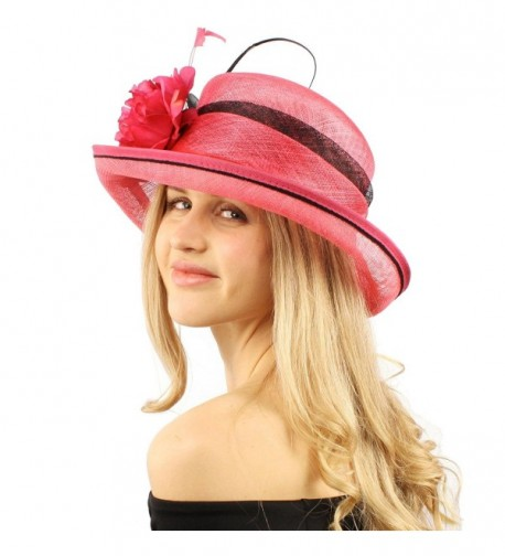 Victorian Sinamay Feather Hat Fuchsia in Women's Bucket Hats