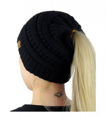 Digood_Hat Digood Women Knit Hat Cable Beanie Stretch Chunky Winter Ponytail Baggy Crochet Slouchy Caps - Black - CQ188NIHNOK