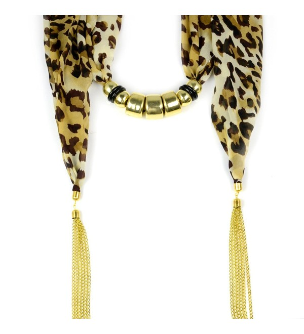 Tassel Chain Ends Leopard Jewelry Necklace Beaded Scarf Nl-2031-2 Colors - Nl-2031a-golden - CW11E87MX0N
