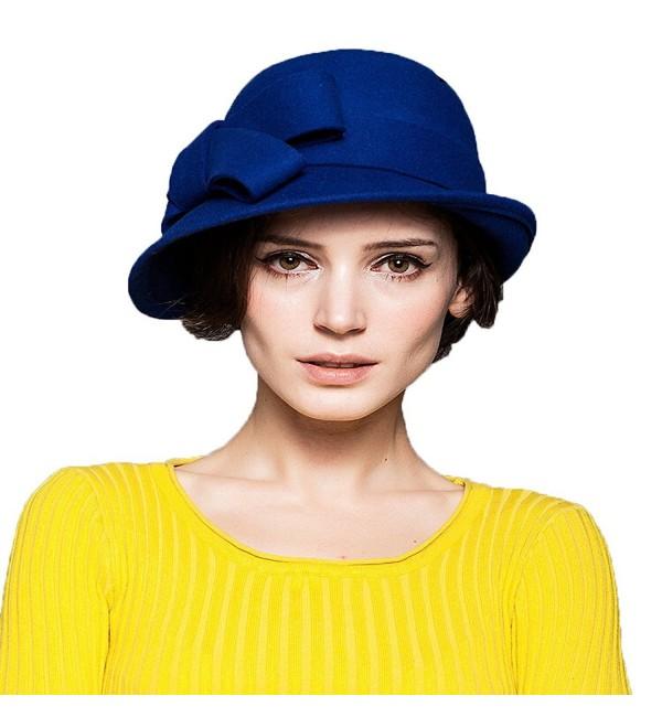 Maitose trade Women's Wool Felt Bow Flowers Church Bowler Hat - Blue - C5126NO0JP9