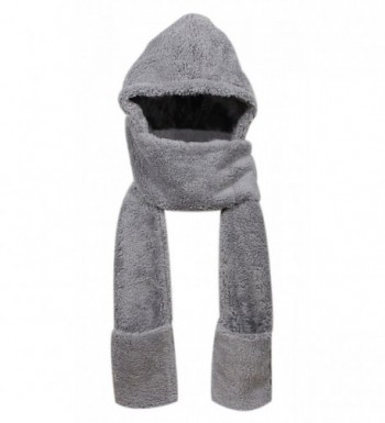 Super Soft Fleece Women's Hooded Scarf & Hat W/ Glove Pockets By Bioterti - Gray - CB18830WROH