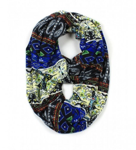 Jersey Knit Paisley Infinity Scarf - Blue - CE12CLAUDDB