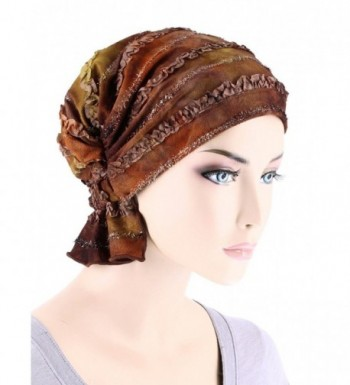 Turban Plus Abbey Cap In Poly Knit Chemo Caps Cancer Hats For Women - 04- Brown Watercolor Ribbon (Poly Blend) - CA18677S98I