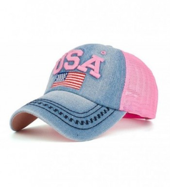 YAKER Washed Denim American Flag Embroidered Operator Cap Baseball Hat - Mesh Pink - CF1856ASR6Q