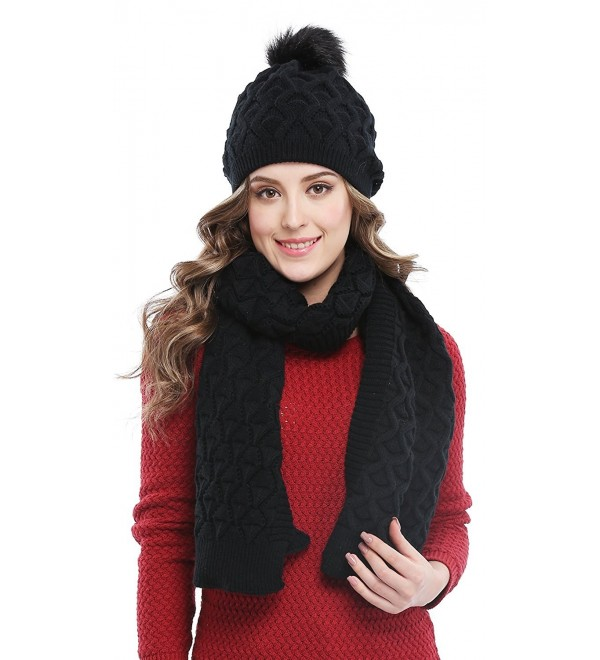 Bellady Women's Knitted Double Layers Beanie Cap with Pom Pom- Scarf Two Peice Set - Black - C412MBWLYZL