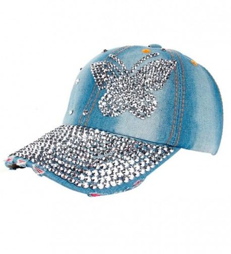 TOOPOOT Men and Women Rhinestone Denim Baseball Cap Hat Adjustable - Butterfly - C0183D3AI7I