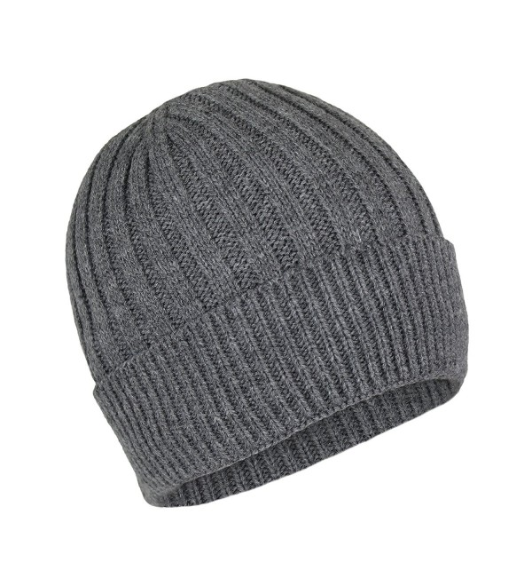 Elliott and Oliver Co. Classic Ribbed Cable Knit Beanie Hat-Unisex Warm Fleece Lined Acrylic Winter Cap - Grey - CM1868GT6LY