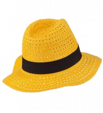 Paper Crushable Panama Hat Yellow in Men's Fedoras
