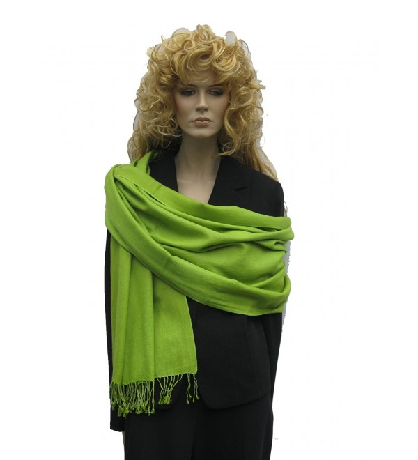 Scarves/wrap/stole/shawl in Pashmina from Cashmere Pashmina Group (Lime Green) - C71117UOQ77