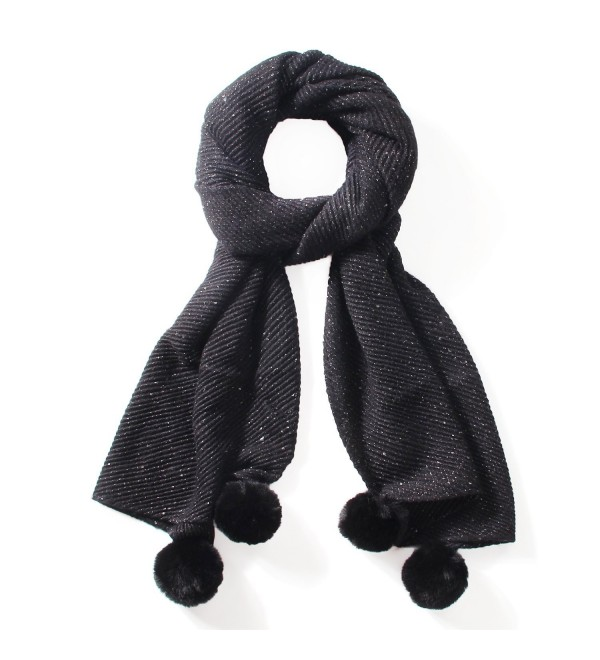 LOUISE&FIONA Plain Colors Cashmere Feel Long and Thick Wool Scarf Wrap Shawl - Black - CL187EH4A8W