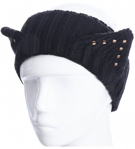 Womens Fashion Headbands Knit Ear Warmers Cute Hairbands Winter Warm Head Wraps - Black Rivet - CZ188LYOKC9