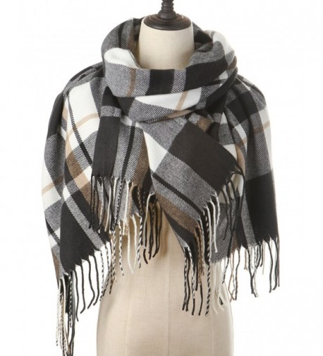 Women Plaid Blanket Cashmere Scarf Long Large Warm Tartan Scarves Wrap Shawl - Black-White - CR187R0MTYG