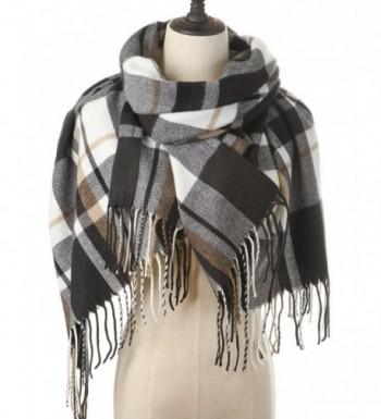 Women Plaid Blanket Cashmere Scarf Long Large Warm Tartan Scarves Wrap Shawl - Black-White - CR187R0MTYG