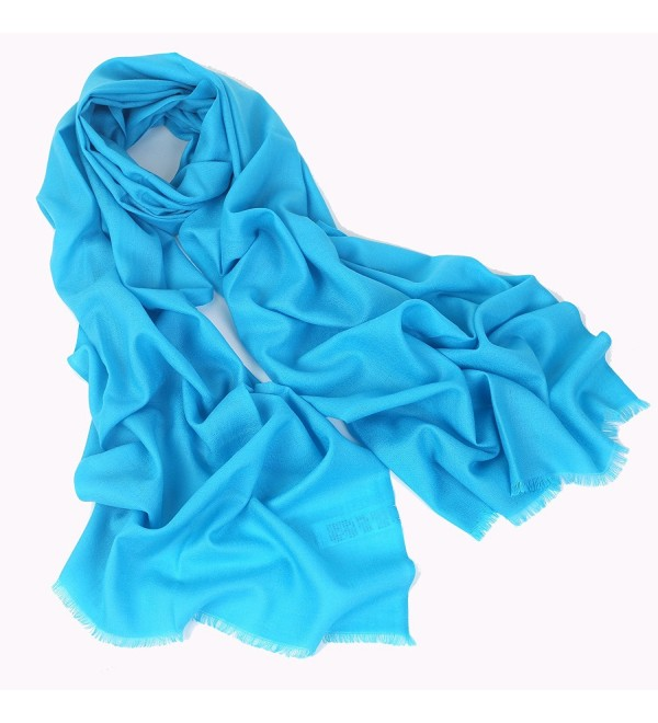 100% Cashmere Wool Ultra Thin Soft Warm Long Scarf Shawl Scarves Wrap /Gift Box JAKY Global - Blue - CM185M36LMC