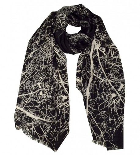 Peach Couture Soft and Sheer Wool Blend Scarf Shawl Wrap - Winter Tree Black - CI186ORO7C6