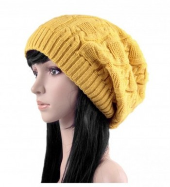 Women's Winter Knit Chunky Ribbed Slouch Pull Back Skull Slouchy Beanie Hat - Yellow - CW12NRSA394