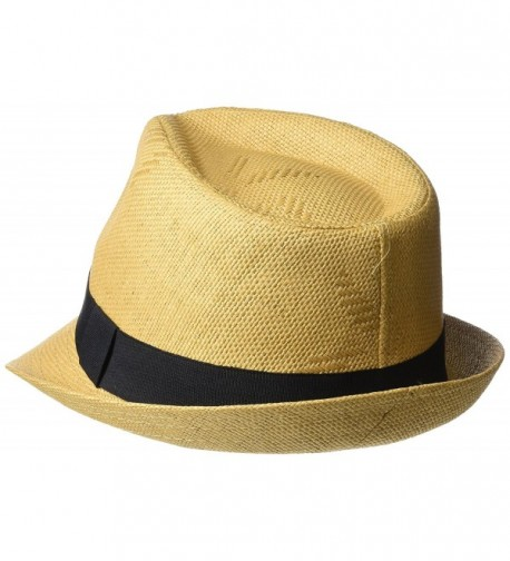 Henschel Mens Linen Look Straw Fedora with Black Band