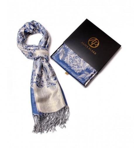 Alice Blake Premium Metallic Floral/Paisley Pashmina Scarf Shawl Wrap w/Gift Box - Blue - CP12NRWGQLO