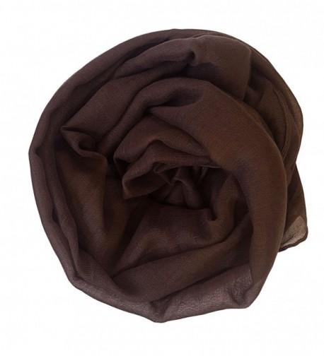 SoLine Solid Color Scarves Shawl Blanket Warm Warp lightweight Large Scarf for Women - Deepbrwon - CE18C3T5HS8