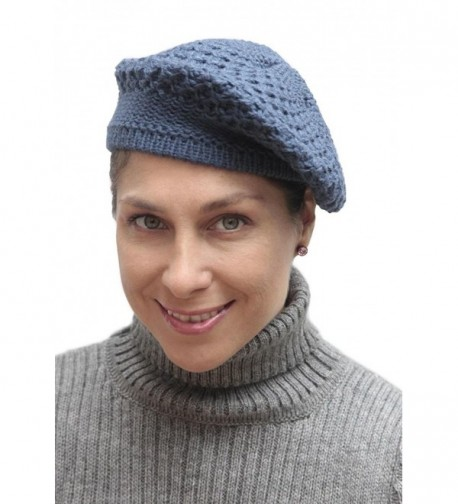 Women's Alpaca Wool Knitted Beret Cap Hat - Steel Blue - C811O24ZGQ5