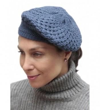 Womens Alpaca Knitted Beret Steel