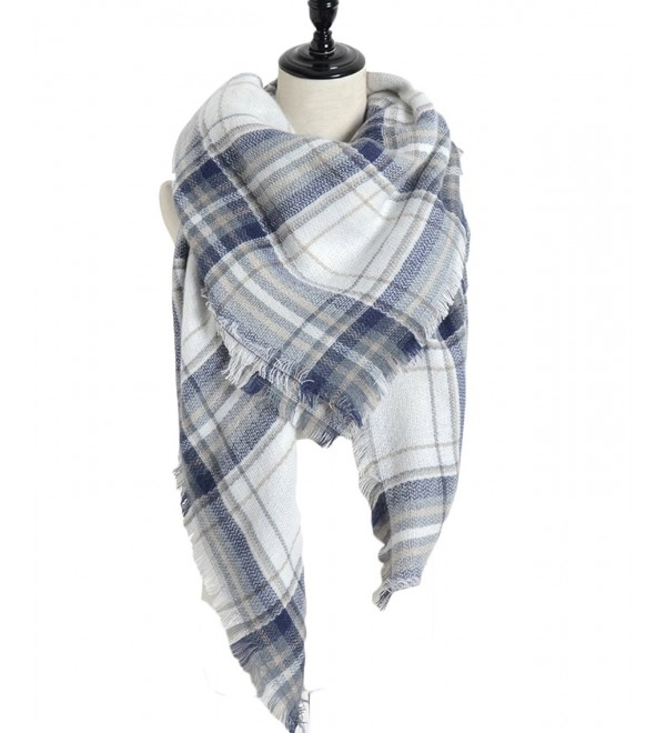 Sundayrose Plaid Blanket Scarf Oversized Square Tartan Shawl Wrap - Blue White - CZ17XMHOX78