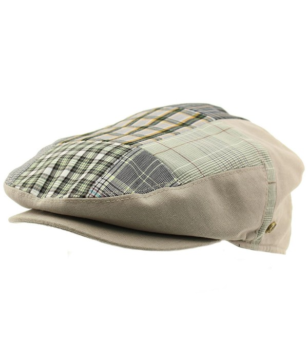 Men/'s 100/% Cotton 14 Patch Ivy Snap Front Driver Cabby Flat Cap Hat Gray