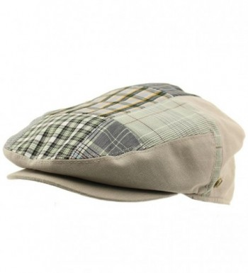 Men's 100% Cotton 14 Patch Ivy Snap Front Driver Cabby Flat Cap Hat Gray - CV17Z4R6CCK