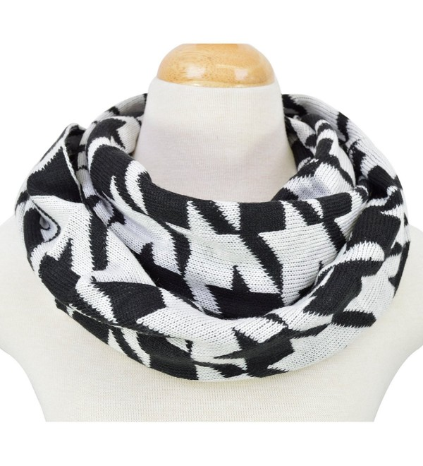 Classic Premium Houndstooth Knit Infinity Loop Circle Scarf - Diff Colors Avail - Black/White - CZ11U2IJIXR