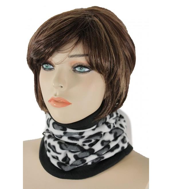 TFJ Women Men Sport Fashion Scarf Turtle Neck Warmer Head Cover Outdoor Loop Mask Hat - Leopard White - CN12NSZF1U3