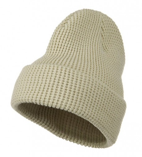 Big Stretch Waffle Stitch Cuff Beanie - Beige (for Big Head) - CA115EHCLHB