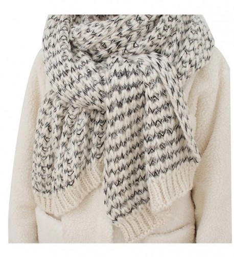 Chunky Cable Soft Mohair Knit Scarf Long Fluffy Wrap for Women Men in Winter FP02 - White - CH187E3XDEN