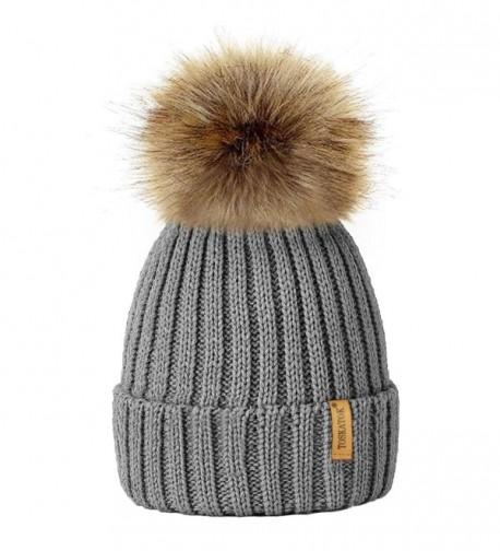 TOSKATOK%C2%AE TOSKATOKWomens Winter Knitted Detachable - Grey - C0123U5SHA7