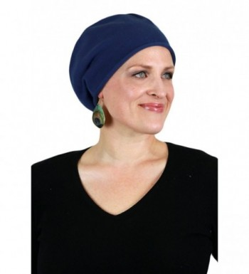 Chemo Caps for Women Slouchy Beanie Hat- Cotton Knit- Lightweight Cancer Headwear by Parkhurst - Navy - CM11X3RCOOJ