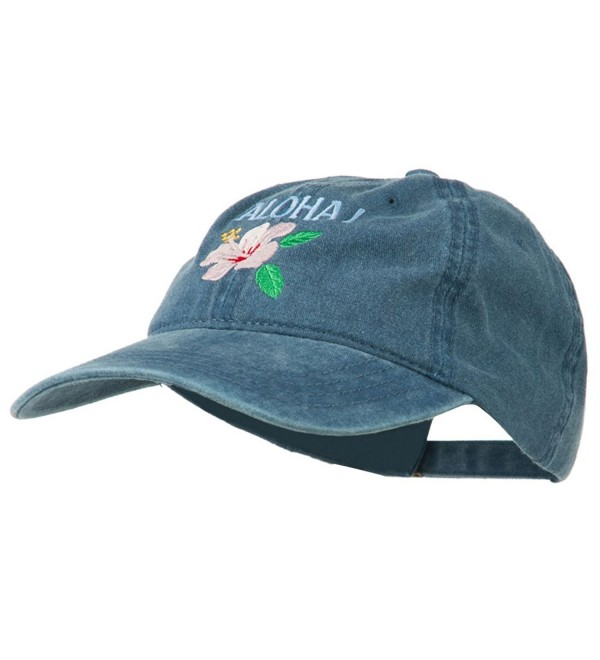 Hawaii Flower Aloha Embroidered Washed Cap - Navy - C611RNPI5SV
