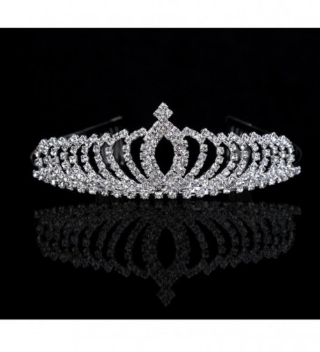 Wedding Party Bridal Bridesmaid Crystal Rhinestones Crown Headband Tiara Hairband - CR126I1DUVR