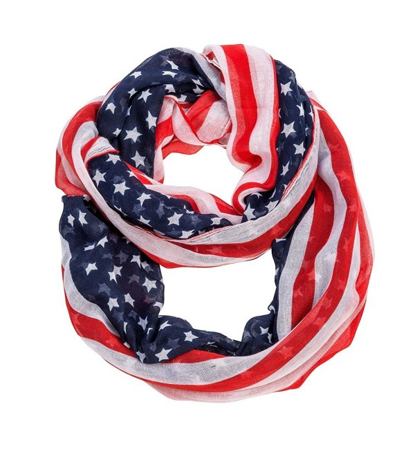 "Purple Box Jewelry 4th of July USA Flag Scarf - ""Stars and Stripes Infinity Scarf 25""""x70"""""" - CC11XLVNMWP"