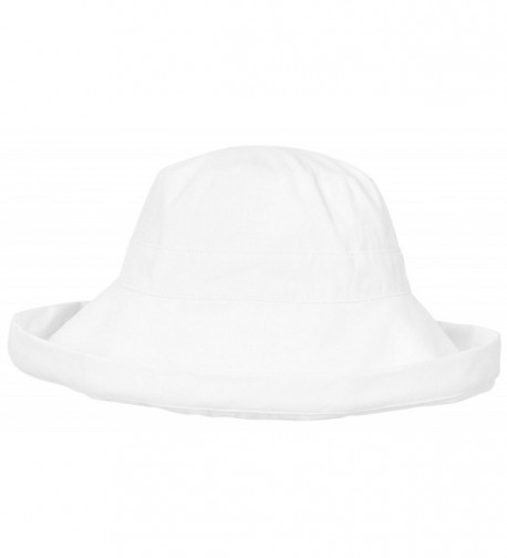 Simplicity Women's Cotton Summer Beach Sun Hat with Wide Fold-Up Brim - White - CN11JZ0Q4Q7