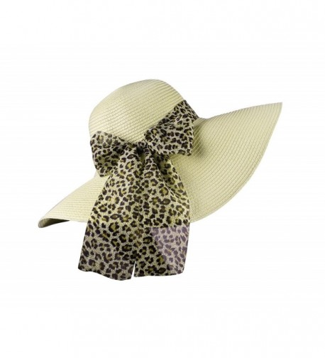 Womens Hat Straw Hats Women Summer Sun Caps With Ribbon Wide Brim Adjustable - Beige - CP17XXS455A