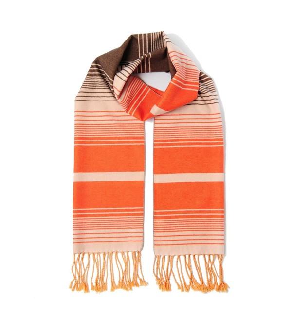 CUDDLE DREAMS Scarves Brushed CLEARANCE - Multi Stripe Orange- Lightly Brushed - CN187KHS430