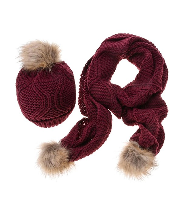 Jelinda Women Autumn Winter Knitted Hat and Scarf Set - Wine Red - CV12MAC3QYO