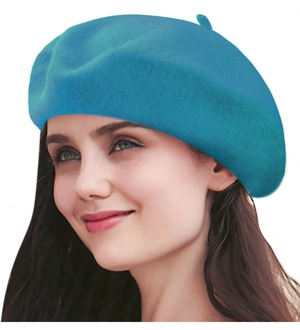 Sierry Beret Beanie Hat- French Wool Beret Caps - Solid Color Winter Beret Hats - Lake Blue - CS1888Y4RIG