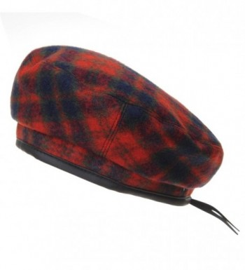 WITHMOONS Wool Beret Hat Tartan Check Leather Sweatband KR3781 - Red - C0186HL8ZAQ