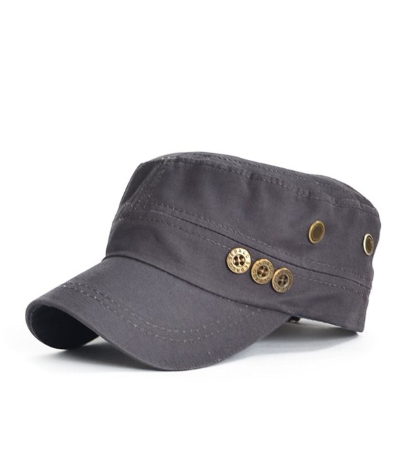 Cotton Men Women Cadet Cap Sun Hat - Gray - CL11XQYF4JB