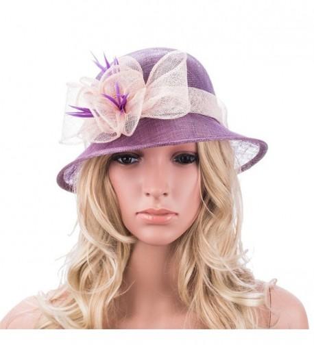 Purple Retro Womens Sinamay Floral Church Cloche Derby Hat T154 - CH12E3IBV5J